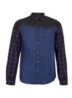 Indigo Dip Dye Check Long Sleeve Denim Shirt