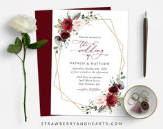 Invite friends and family in style and set the tone for your special day with this charming wedding invitation! #printable #wedding #reception #invitations #weddinginvitations #weddingstationery #SHdesigns Burgundy And Blush Wedding, Blush Wedding Flowers, Pink Flowers, Blush Pink, Reception Invitations, Wedding Invitation Sets, Wedding Stationery, Invite Friends