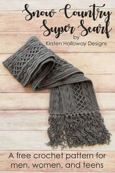 Super Scarf: Free Pattern Crochet a richly textured scarf for men, women or teens with this free crochet pattern! It's the answer to your winter weather fashion, and comfort needs. Make it with or without tassels--the choice is up to you! Crochet Afghans, Crochet Motifs, Crochet Stitches, Crochet Blankets, Free Crochet Scarf Patterns, Crochet Ideas, Hat Patterns, Crochet Projects, Pattern Ideas
