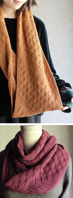 Knitting Pattern for Slanted Gansey Cowl - This reversible infinity scarf cowl worked flat on the bias then seamed. Knit with sport-, DK- or worsted-weight yarn. Designed by Carol Sunday