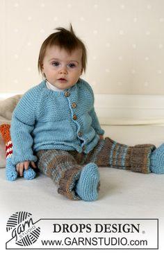 DROPS Vest met raglan, broek, laarsjes en knuffel van Alpaca. Maat 1/3 maanden - 3/4 jaar. ~ DROPS Design