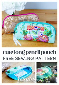 Cute Long Pencil Pouch - free sewing tutorial (She Sews! Bag Patterns To Sew, Sewing Patterns Free, Free Sewing, Sewing Tutorials, Tutorial Sewing, Sewing Hacks, Sewing Case, Bags Sewing, Bag Tutorials