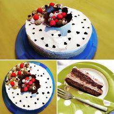 Super cremig kommt diese Torte daher und nicht soo süß durch die zart herbe Schokoladenmouse und die leicht säuerlichen Himbeermouse. 😋