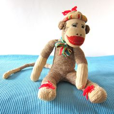 VIntage Sock Monkey Handmade Large Doll Multicolor by hensfeathers, $65.00