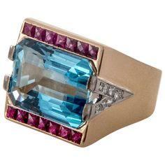 Retro Art Deco 15.83ct Natural Gem Aqua 14k Pink Gold Ruby Diamond Ring