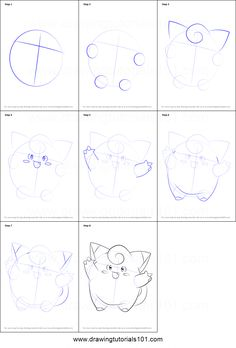 How to Draw Clefairy from Pokemon printable step by step drawing sheet : DrawingTutorials101.com