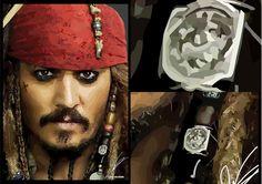 Vector portrait of Johnny Depp in Adobe Illustrator.  Made by- Django van Ardenne