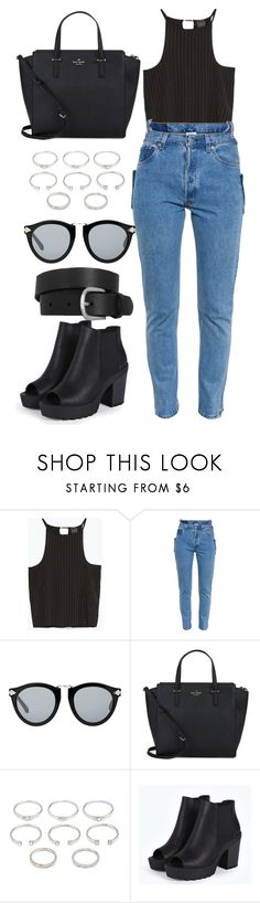 """""""Back to simple"""" by marzia-universe ❤ liked on Polyvore featuring Zara, Vetements, Karen Walker, Kate Spade, Forever 21, Boohoo, Isabel Marant, denim, booties and stylish"""