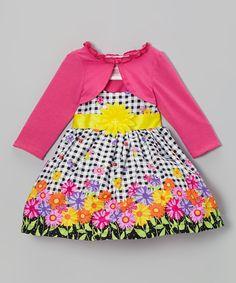 Black Floral Dress & Dark Pink Cardigan - Infant, Toddler & Girls