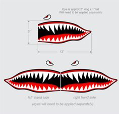 "Flying Tigers shark teeth decal sticker 5"" t x 12"" w WWII Military Airplane"