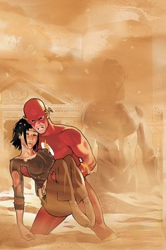 The Flash Wally West and Linda Park by Daniel Acuna Marvel Comics, Marvel Comic Universe, Dc Comics Art, Dc Universe, Comic Book Characters, Comic Book Heroes, Comic Character, Comic Books Art, Linda Park