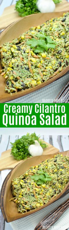 Creamy Cilantro Quinoa Salad is a healthy salad recipe perfect for any meal! Add just about any combo of vegetables with the cilantro & greek yogurt dressing or sauce for a vegetarian lunch or dinner recipes or a perfect side dish. | beckysbestbites.com