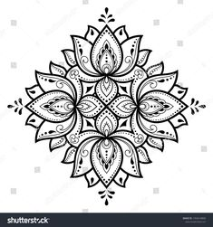 Circular pattern in form of mandala with lotus flower for Henna, Mehndi, tattoo, decoration. Decorative ornament in ethnic oriental style. Mandala Art Lesson, Mandala Artwork, Mandala Drawing, Mandala Tattoo, Hamsa Tattoo, Mandala Coloring Pages, Colouring Pages, Adult Coloring Pages, Coloring Books