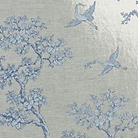 Metallic silver wallpaper with blue would be amazing for a bathroom