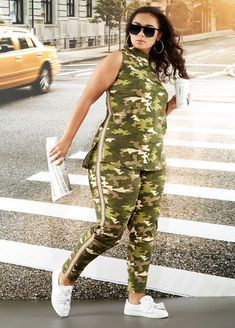 f8496bfbcbc Outfits Made For YouPlus Size Outfits - Mock Neck Camo Top with Side Stripe  Camo Legging Set
