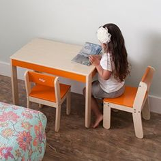P'kolino Little One's Table and Chairs, Orange.  Child / Children Furniture.