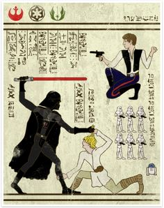 "Star Wars hieroglyphics! Or....""hero-glyphics."""