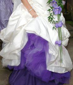 Purple tule underskirt - beautiful w/flowers Purple Wedding, Fall Wedding, Wedding Bells, Dream Wedding, Purple Accents, Wedding Hairstyles For Long Hair, All Things Purple, Colored Wedding Dresses, Wedding Attire