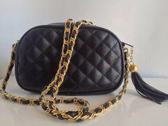 1980's Black Quilted Faux Leather Crossbody by VintageMindedMaven, $34.00 #designer #chanel #vintage