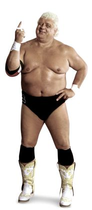 """The American Dream Dusty Rhodes  Height: 6 '2""""  Weight: 275 lbs.  From: Austin, Texas  Signature Move: Bionic Elbow  Career Highlights: NWA World Champion; NWA World Tag Team Champion; United States Champion; NWA Television Champion; 2007 WWE Hall of Fame Inductee"""