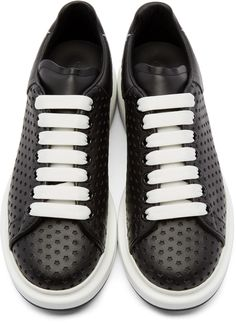 Alexander McQueen Black Leather Perforated Star Low-Top Sneakers Alexander  Mcqueen Clothing 675cc9643e807
