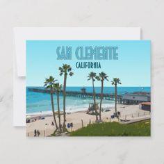 Shop San Clemente Pier Beach California Flat Card created by AKLawrence. San Clemente California, San Clemente Pier, Pacific Blue, Personal Photo, Vintage Postcards, Postcard Size, Aqua Blue, Paper Texture, Landscape
