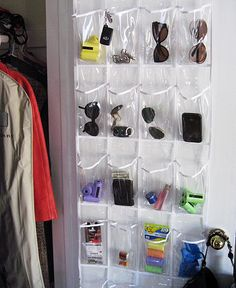 plastic shoe holder for entry closet, so cheap & perfect for odds & ends that collect on the kitchen table
