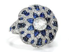 A Worthy Beauty: Diamond Sapphire Dome Ring