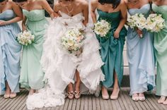 Having bridesmaids wear different shades of blue and light green.. interesting idea!