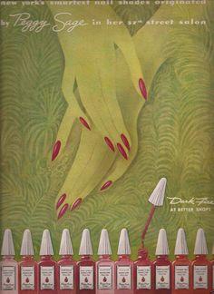 Nail Polish Advertisement, ca 1943, Peggy Sage, Nail Polish, New York.