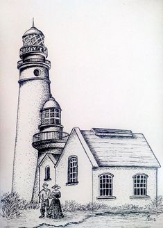 Pencil Art Drawings, Art Drawings Sketches, Cool Drawings, Lighthouse Drawing, Lighthouse Art, Painting & Drawing, Watercolor Paintings, Drawing Scenery, Stippling Art