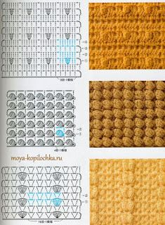 "Photo from album ""Crochet: technique and pattern NV 70142 2012 on Yandex. Crochet Motifs, Crochet Diagram, Crochet Stitches Patterns, Crochet Chart, Crochet Squares, Diy Crochet, Knitting Stitches, Stitch Patterns, Crochet Tutorial"