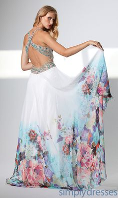 Gorgeous Empire Long Sweet Made Open Back Floral Prom/Evening/Formal Dresses By Terani
