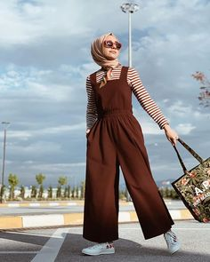 Iinen jumpsuit and stripe line long sleeve thirt Available on pre order please inbox us for the order. Hijab Fashion Summer, Modern Hijab Fashion, Street Hijab Fashion, Hijab Fashion Inspiration, Fashion Mode, Modest Fashion, Fashion Outfits, Iranian Women Fashion, Islamic Fashion