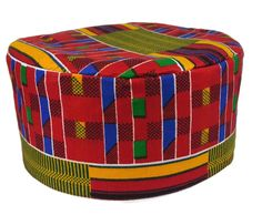 Traditional Men's Kufi Black History Month Hat African Kente Print Cap 55 cm #Handmade #AfricanKenteTraditionalHat