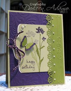 Like the color combination & use of embossing folder with border punch