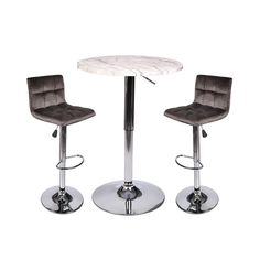 35 Inches Height Pub Table Round Marble Color Mdf Top, with 2 Dark Brown Contemporary Chrome Air Lift Barstool Leather Padded Adjustable Swivel Stools