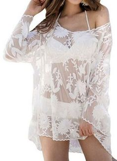 Love Love LOVE this CoverUp! So Gorgeous! Sexy White Lace Scoop Neck Long Sleeves Embroidered Cover-Up