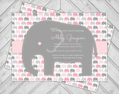 Girls Elephant Baby Shower Invitations Baby by alittletreasure, $15.00