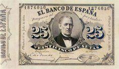 Billetes antiguos españoles 1884- 25 pesetas, anverso