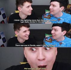 Here we see a wild heart eyes Howell in its natural habitat. Staring at Phil Lester and wanting so badly to smooch his smol bean