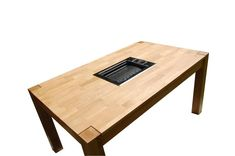 Korean bbq table is a combination of a table for summer cottage or a terrace with a built-in brazier for barbeque or grill. Table Top Grill, Grill Table, Korean Bbq Grill, Barbecue Grill, Outdoor Buffet, Mustard Yellow Walls, Fire Pit Designs, Restaurant Concept, Built In Grill