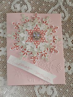 Carol's Cards: Coloring Down the Lines-Calypso Coral, Add a Snowflake