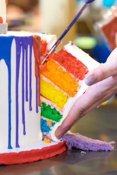 Layered rainbow cake from a Rainbow Paint Party on Kara's Party Ideas KarasParty… - Shopkins Party Ideas Art Themed Party, Themed Birthday Cakes, Birthday Parties, Birthday Ideas, Art Birthday Cake, Bob Ross Birthday, Art Party Cakes, Kids Art Party, Painting Party Kids