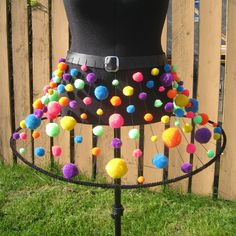 Pompom skirt for burning man, dances, raves, parties, or when you just want to wear something FUN - custom size. $145.00, via Etsy.