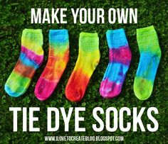 Make your socks colorful with tie dye! - A Little Craft in Your Day  #teencraft