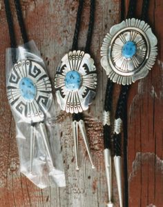 3 Tommy Singer Bolo Ties with Kingman Turquoise, circa 1992.  We bought from this silversmith at his shop near Dilcon School on the Navajo Reservation in Arizona.