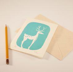 """Tarjeta de felicitación con ciervo azul turquesa 11x16cm (4.3x6.2"""") de RainTreePrintmaking en Etsy"""