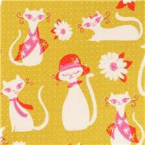 cat animal mustard yellow fabric by Cotton and Steel