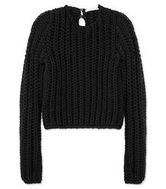 Lazy Sunday favorites at #ShopBAZAAR - Les Copains Basketweave Black Sweater